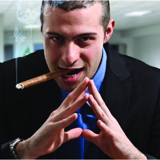 Menacing, Cigar-smoking man holds his fingertips together