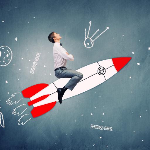 Business man sitting on a rocket