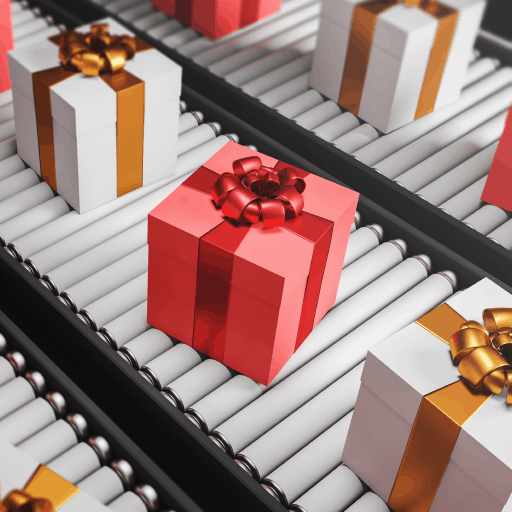 Wrapped gifts on an automated conveyor belt