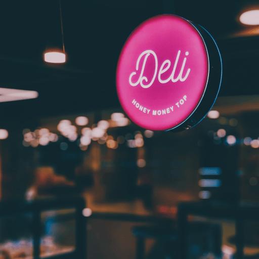 Photo of a deli sign