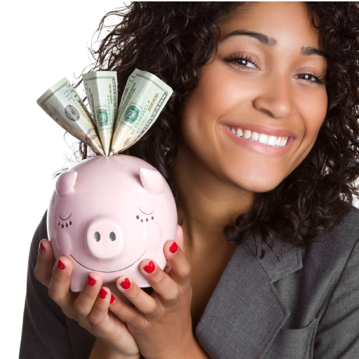 Business woman crushing her financial goals with full piggy bank