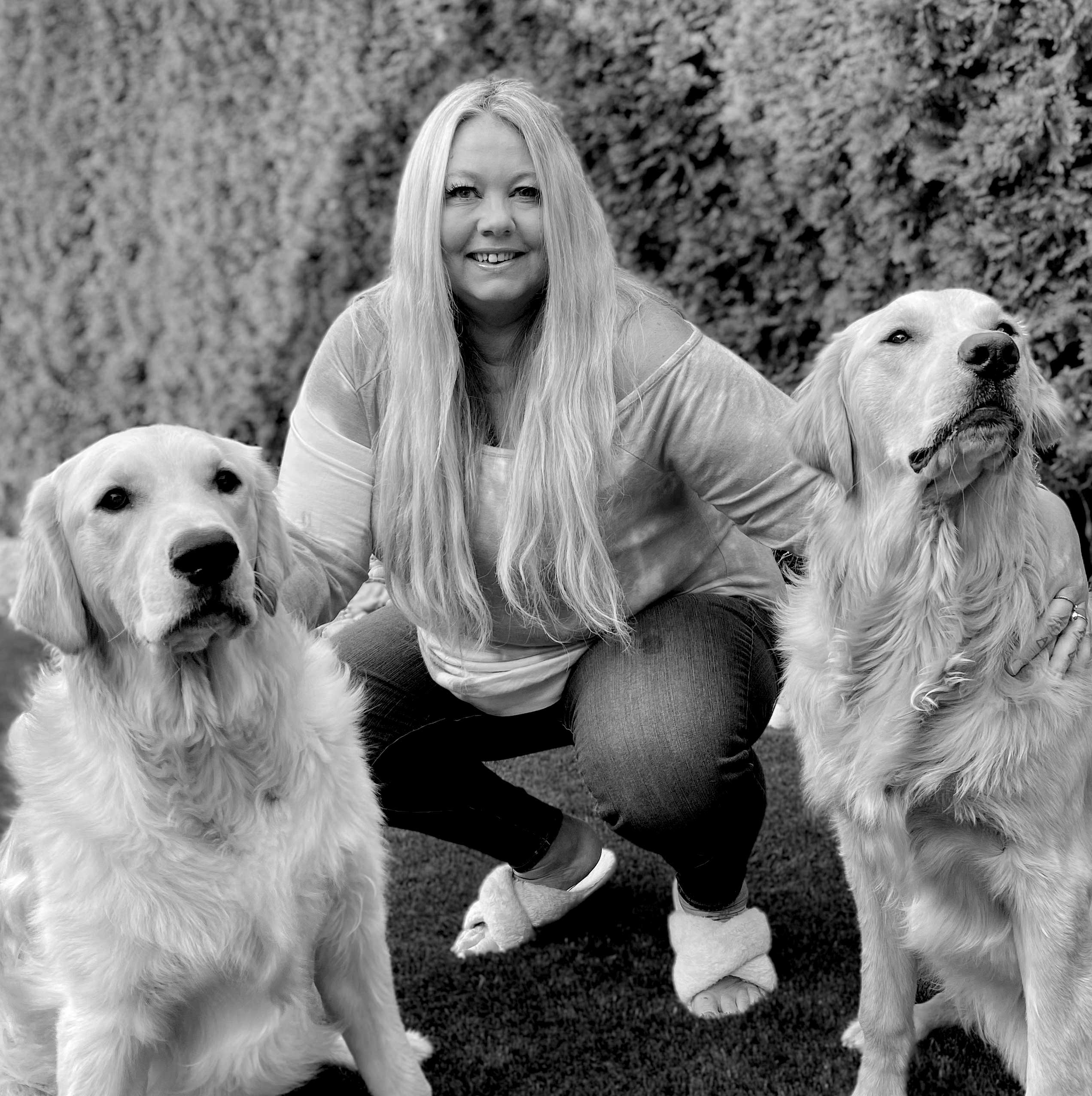 Michelle Cooper with her two dogs