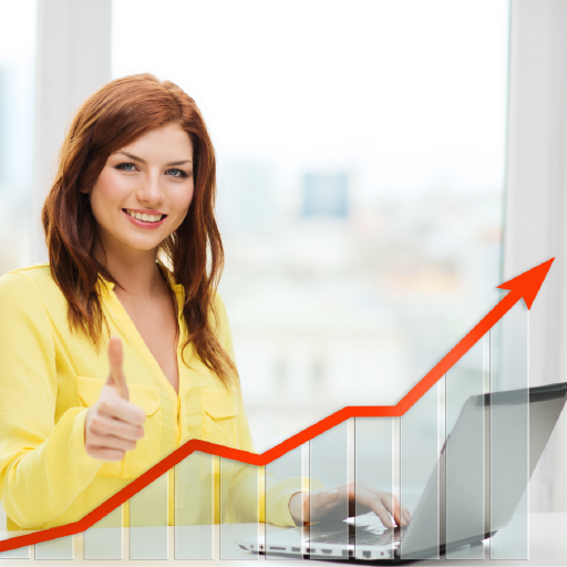 Woman smiling and giving thumbs up over increased profit