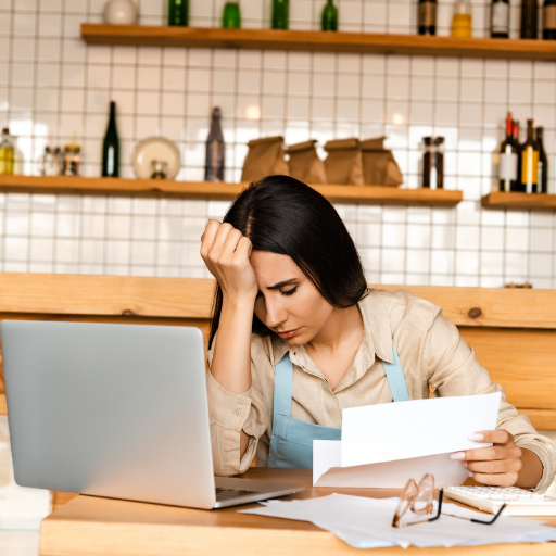 Frustrated woman sabotaging her business